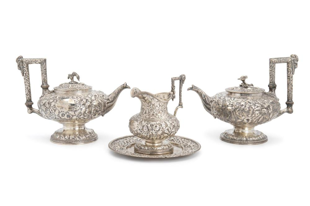 """Four S. Kirk and Sons """"Repousse"""" sterling silver objects"""