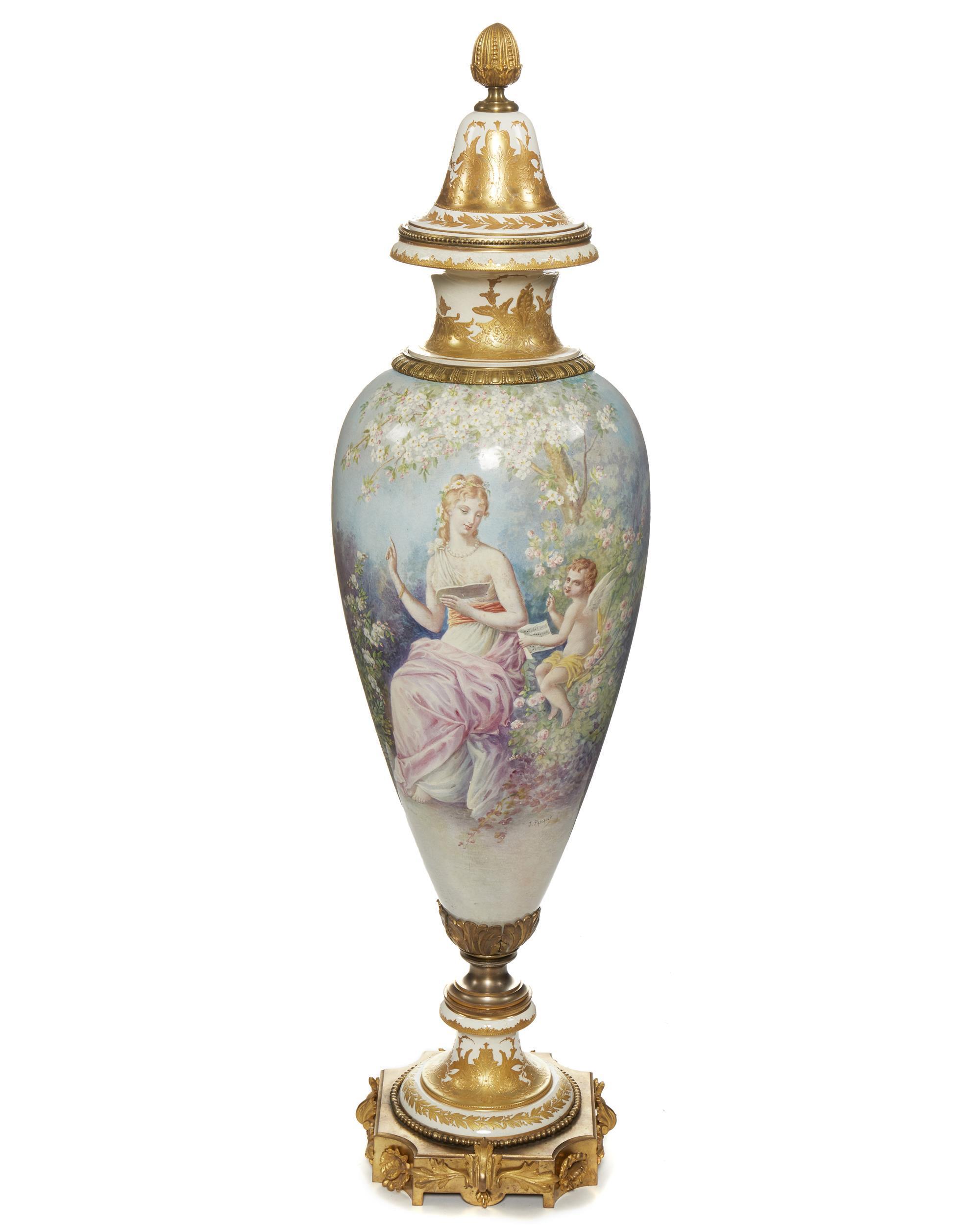 A monumental Sèvres lidded urn