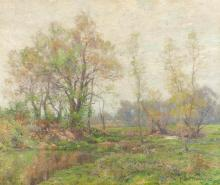 """Hugh Bolton Jones, (1848 - 1927 New York, NY), """"Springtime"""", trees in a landscape, Oil on canvas laid to canvas, 30.25"""" H x 36.25"""" W"""