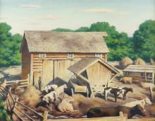 """James Ormsbee Chapin, (1887 - 1975 New York, NY), Cows in a barnyard, 1924, Oil on canvas laid to canvas, 20"""" H x 26"""" W"""