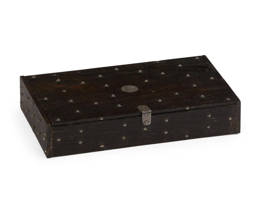 A William Spratling ebony and sterling silver cased domino set