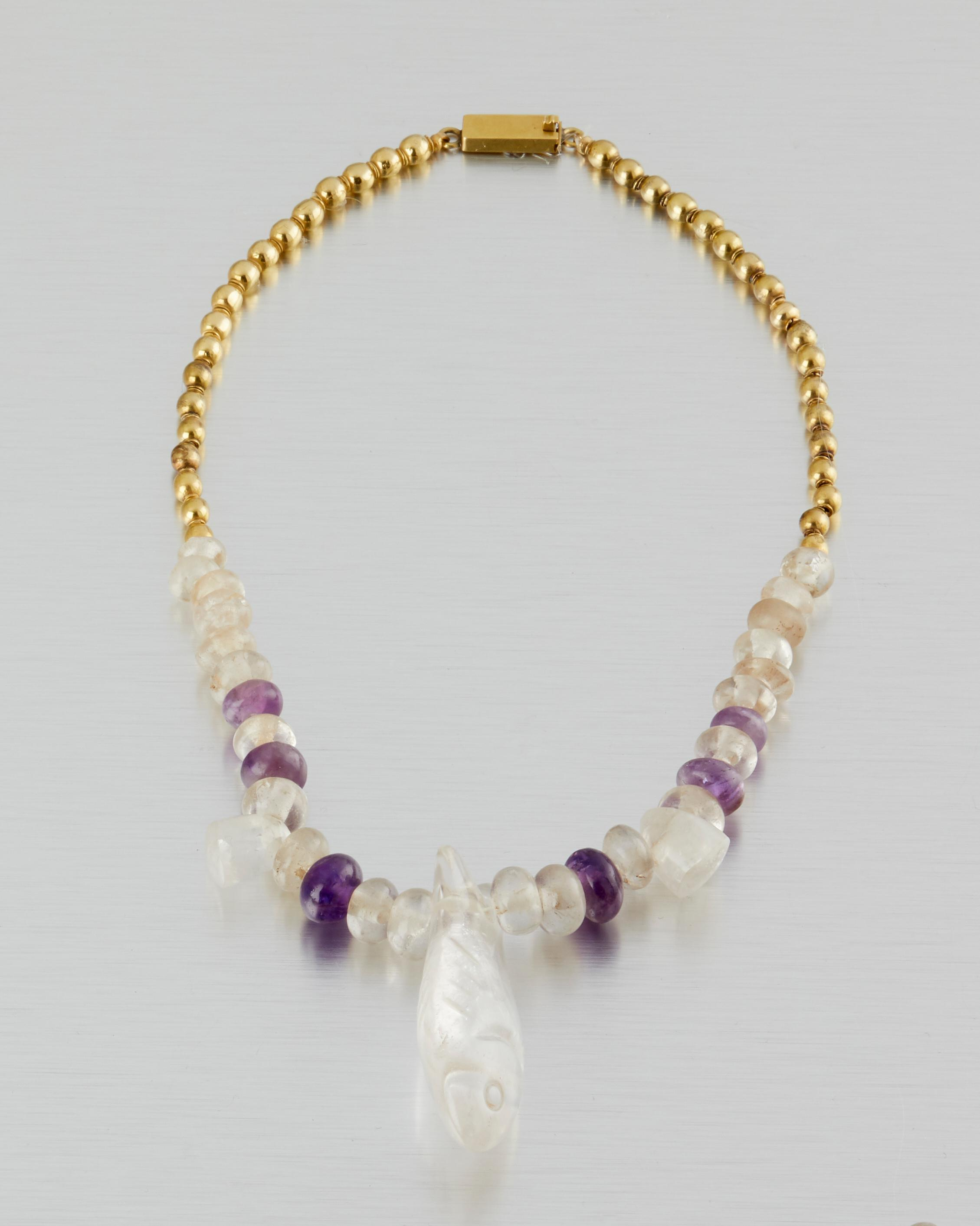 A William Spratling 18k gold Pre-Columbian beaded necklace