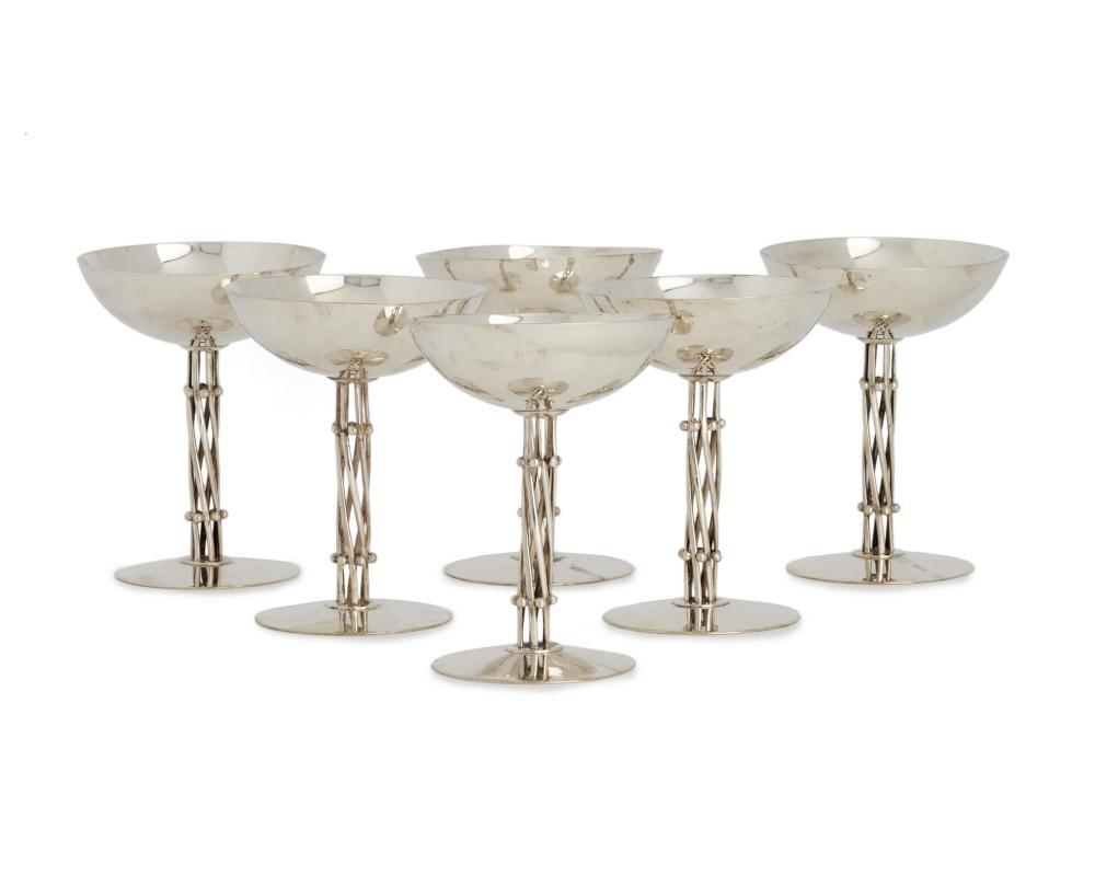 Six William Spratling sterling silver champagne goblets
