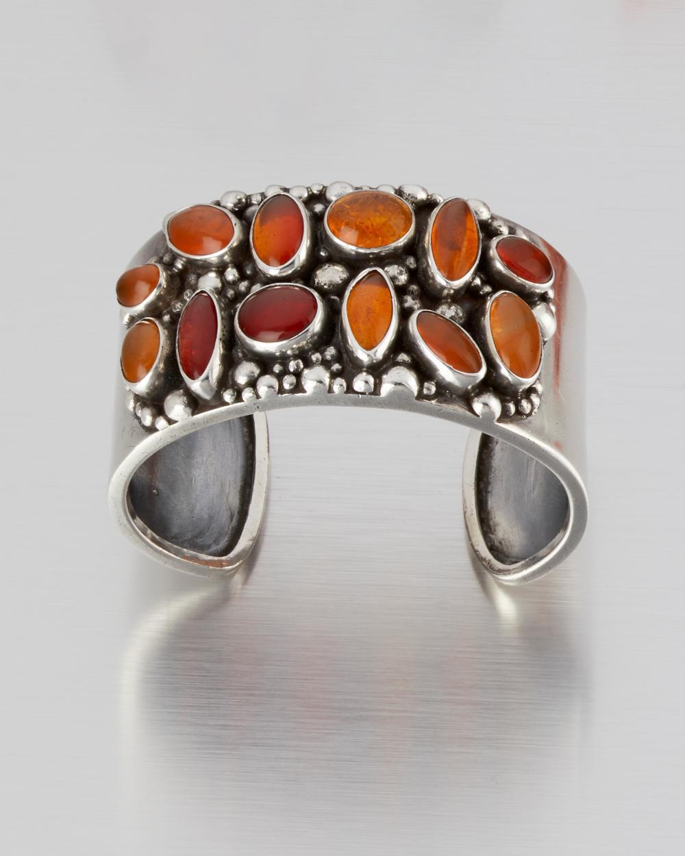 A Carmen Beckmann silver and fire opal cuff bracelet