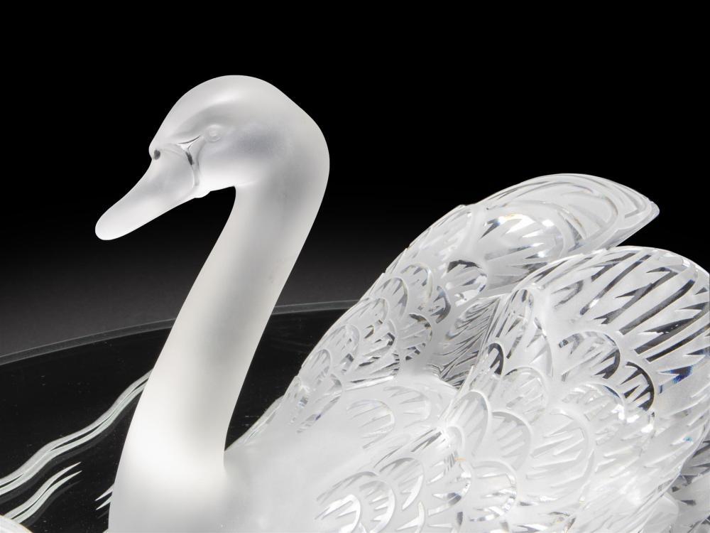 Image ref 92B98097CE - A pair of Lalique art glass swans
