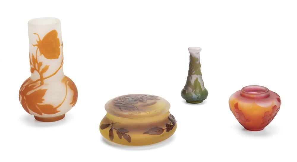 Image ref 164E4C374D - Four Gallé cameo glassware items