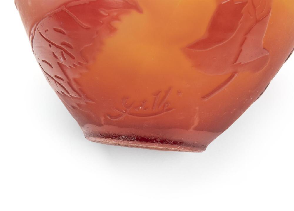 Image ref B7AA1F3183 - Four Gallé cameo glassware items