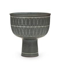Image ref 502287BD12 - Harrison McIntosh, (1914-2016, American), Pedestal bowl, third-quarter 20th Century, Stoneware, incised decoration, engobe, 6.25