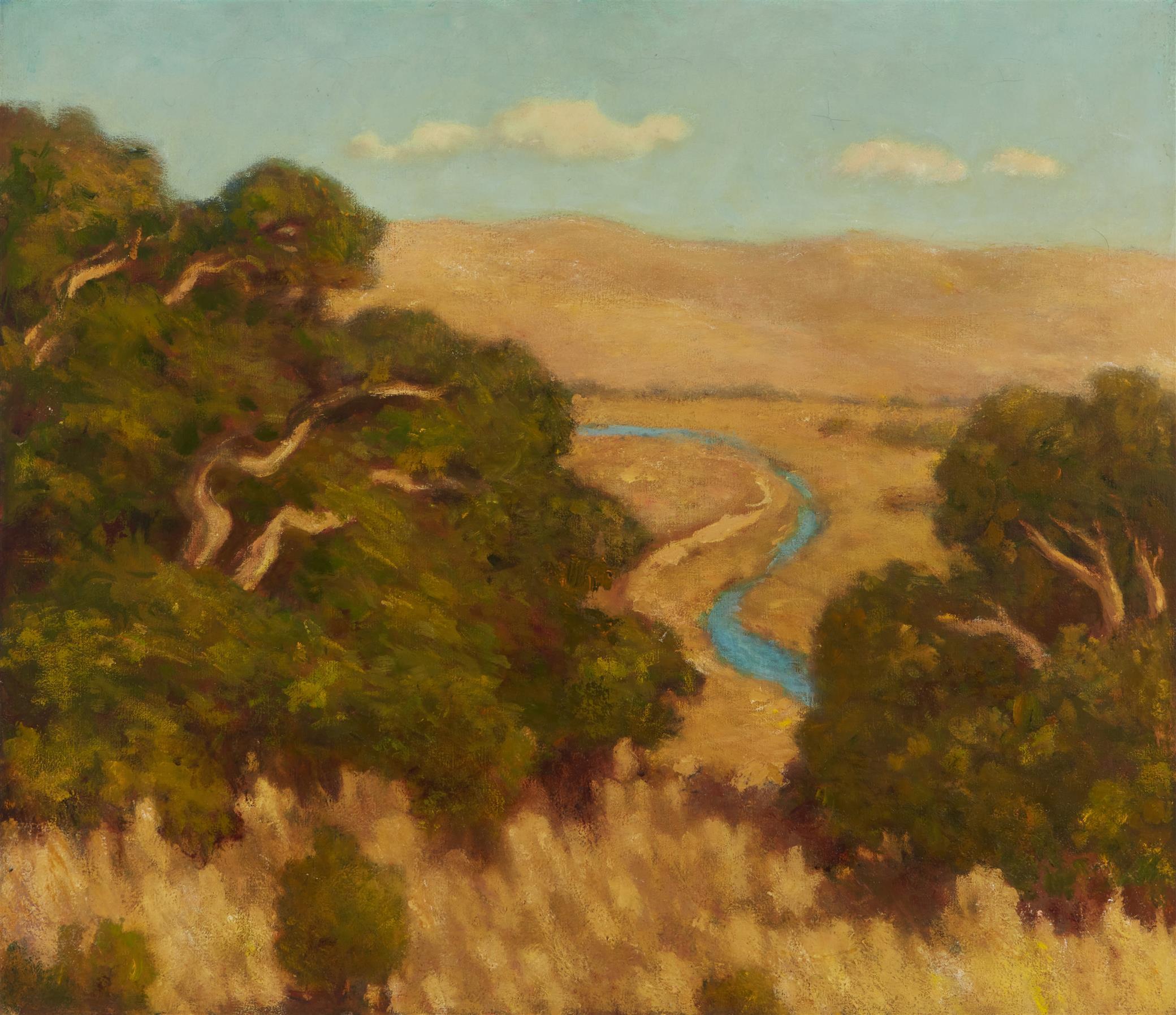 "Arthur Harold Knott, (1883-1977, Morro Bay, CA), ""Sun Baked Hills"", Oil on canvas, 26"" H x 30"" W"
