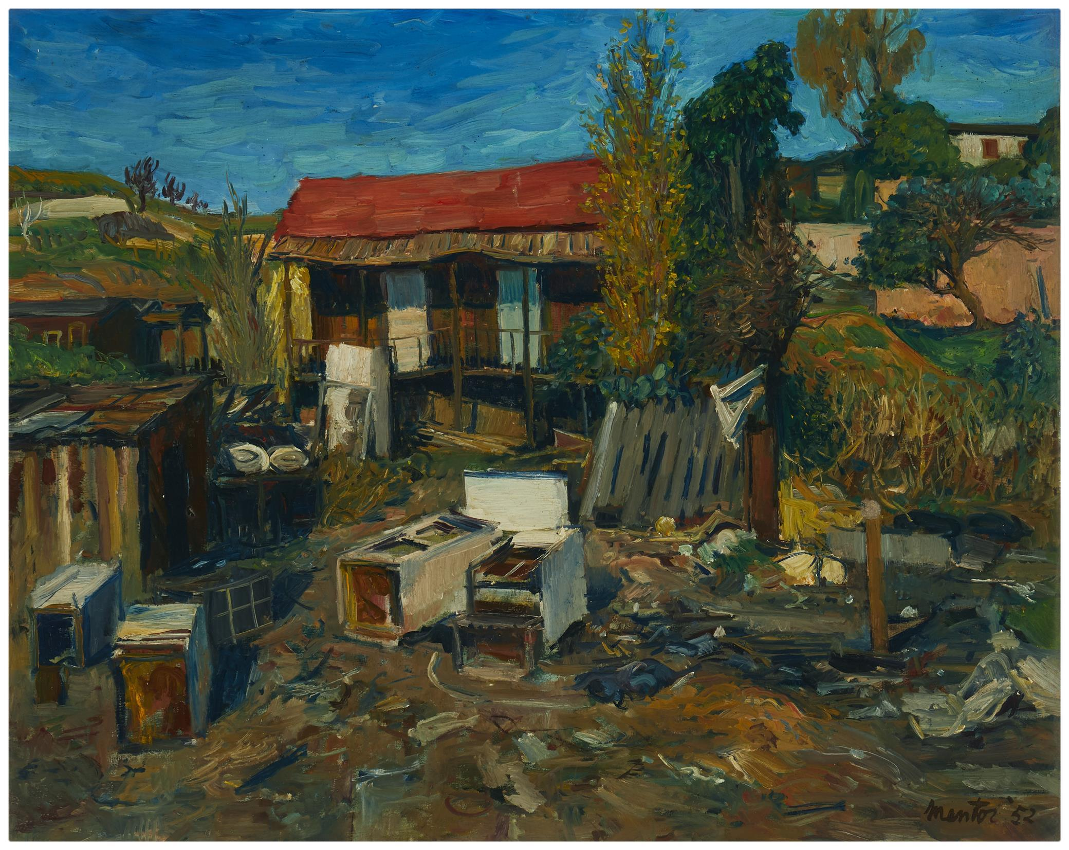 """Mentor Huebner, (1917-2001, Los Angeles, CA), """"Nothing is Forever,"""" 1952, Oil on board, 24"""" H x 30"""" W"""