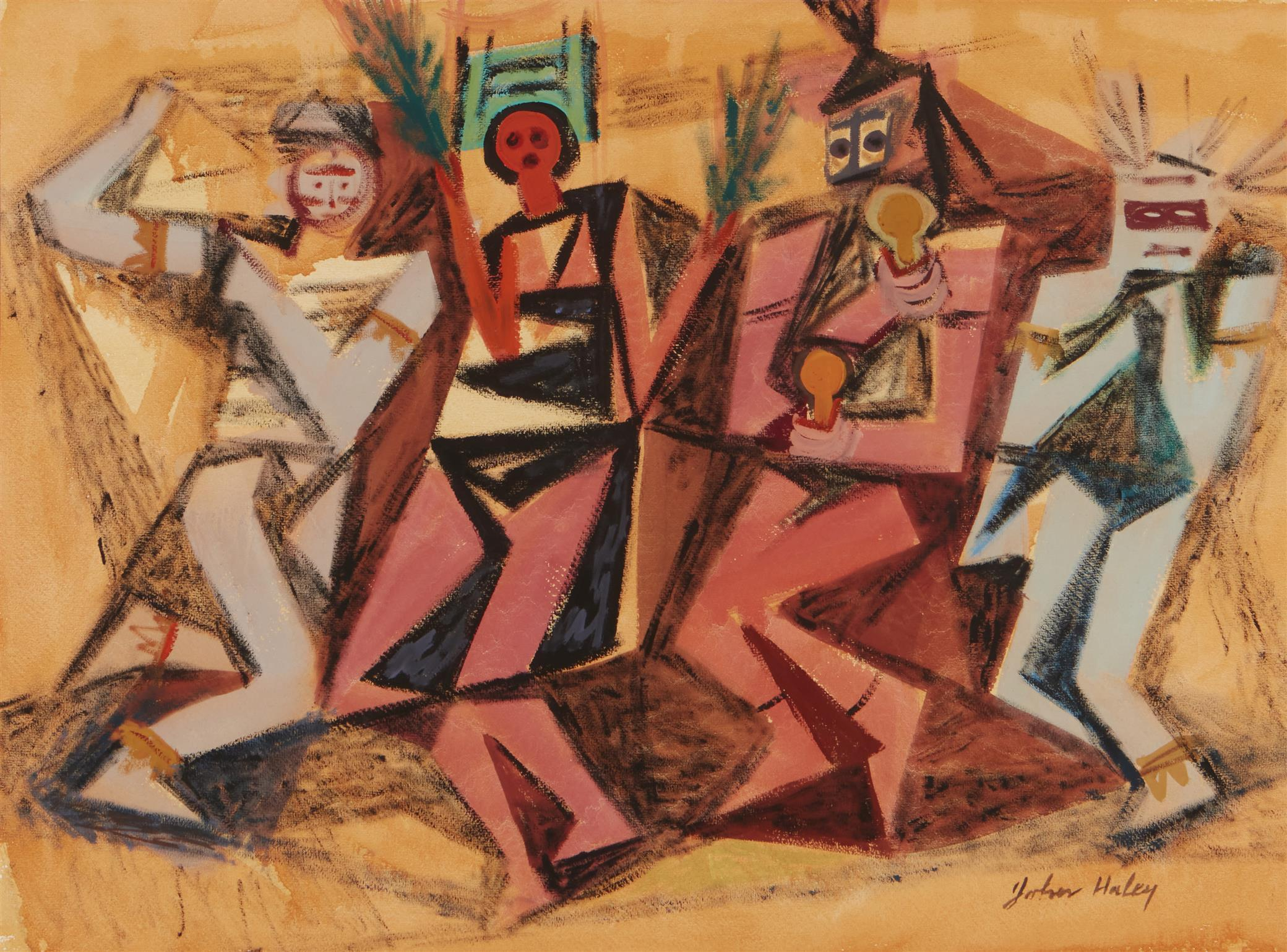 """John Charles Haley, (1905-1991, Berkeley, CA), """"Pueblo Indian Dance,"""" 1947, Watercolor and gouache on paper under glass, Sight: 16.5"""" H"""