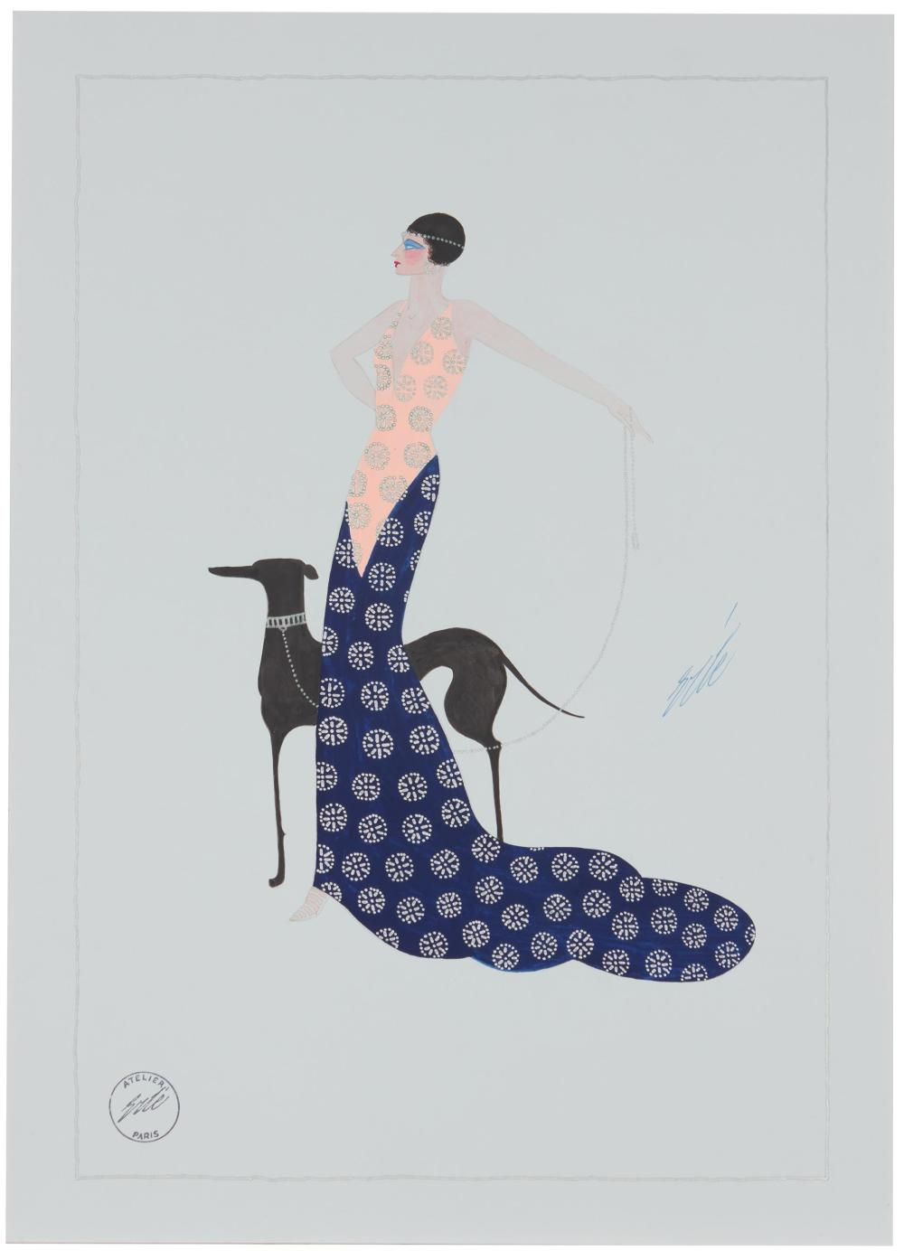 Romain (Erté) de Tirtoff, (1892-1990, Russian), Woman in a peach and navy gown with train and black dog, Gouache with metallic paint on