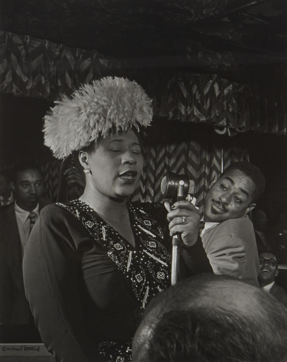 William Paul Gottlieb, (1917-2006, American), Ella Fitzgerald with Dizzy Gillespie, Ray Brown and Milt Jackson at the Downbeat Club, NY