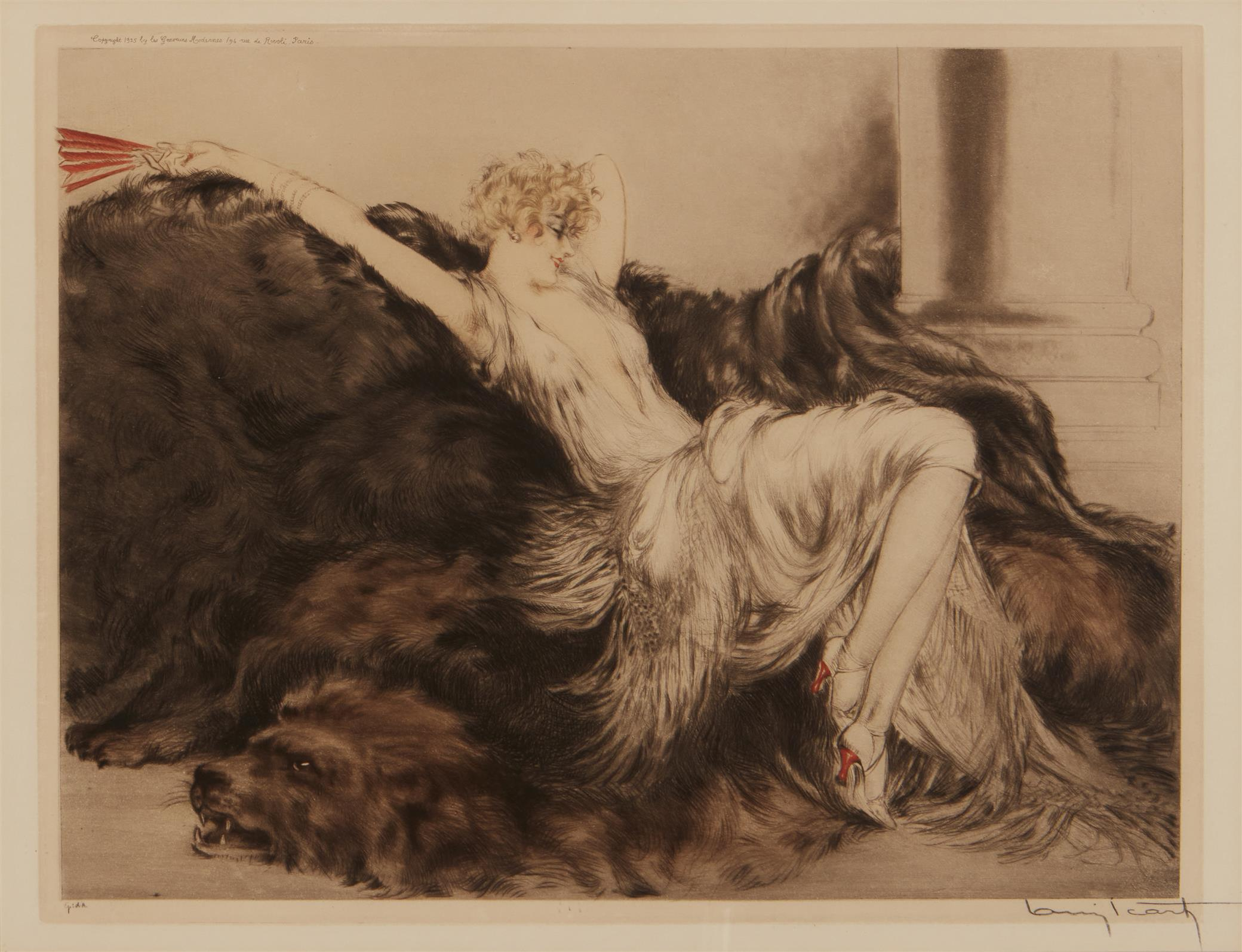 "Louis Icart, (1888-1950, French), ""Laziness,"" 1925, Hand colored etching/aquatint on paper under Plexiglas, Sight: 16.75"" H x 21"" W; Im"