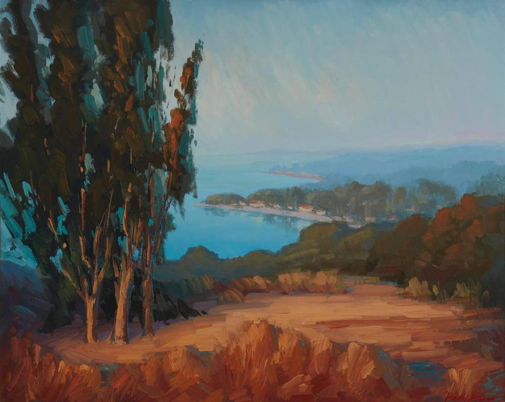 "Joseph Aaron, (b. 1959, Laguna Beach, CA), ""Overlooking Montecito"", Oil on canvas laid to panel, 24"" H x 30"" W"