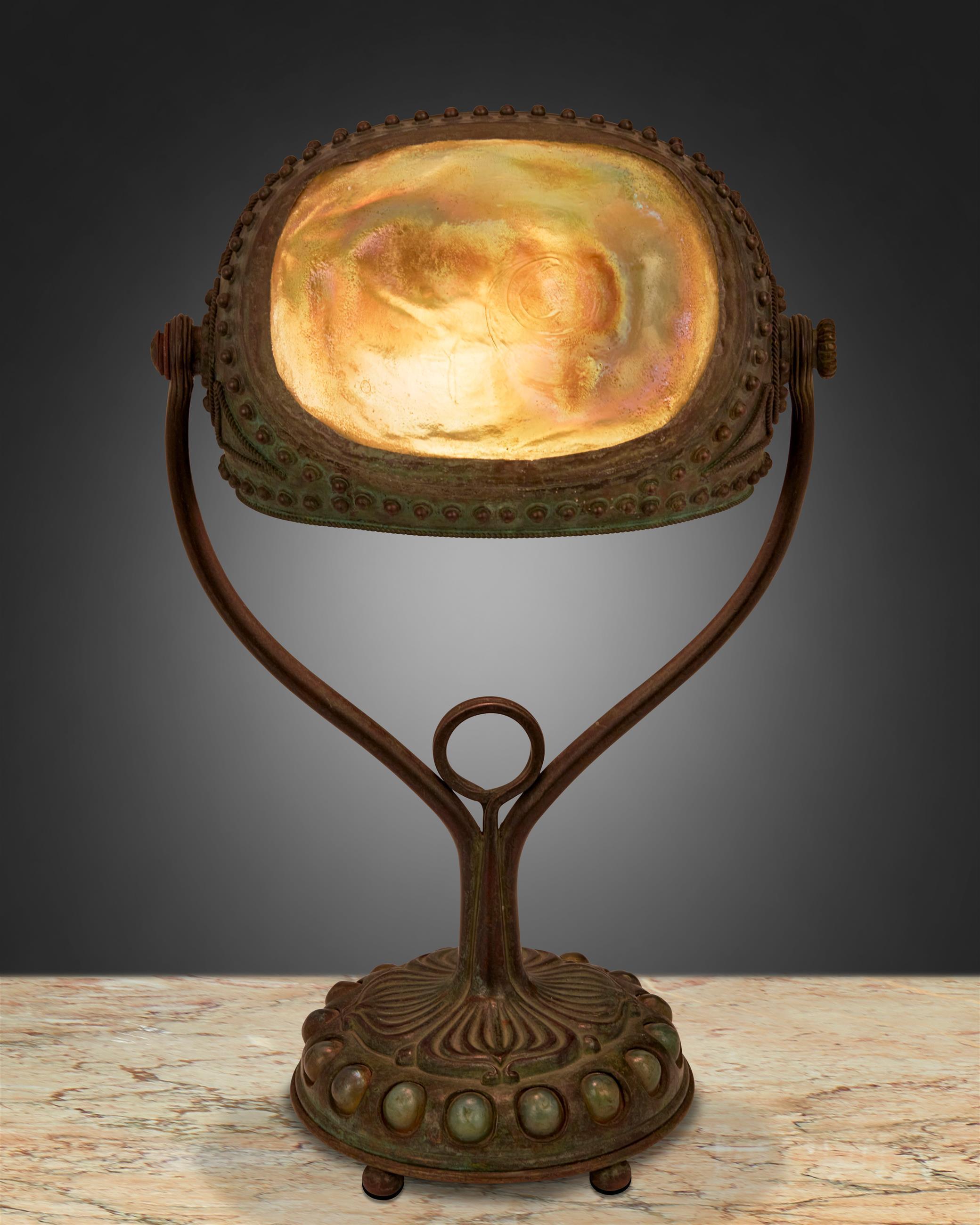 "A Tiffany Studios ""Turtle-Back"" seal lamp"