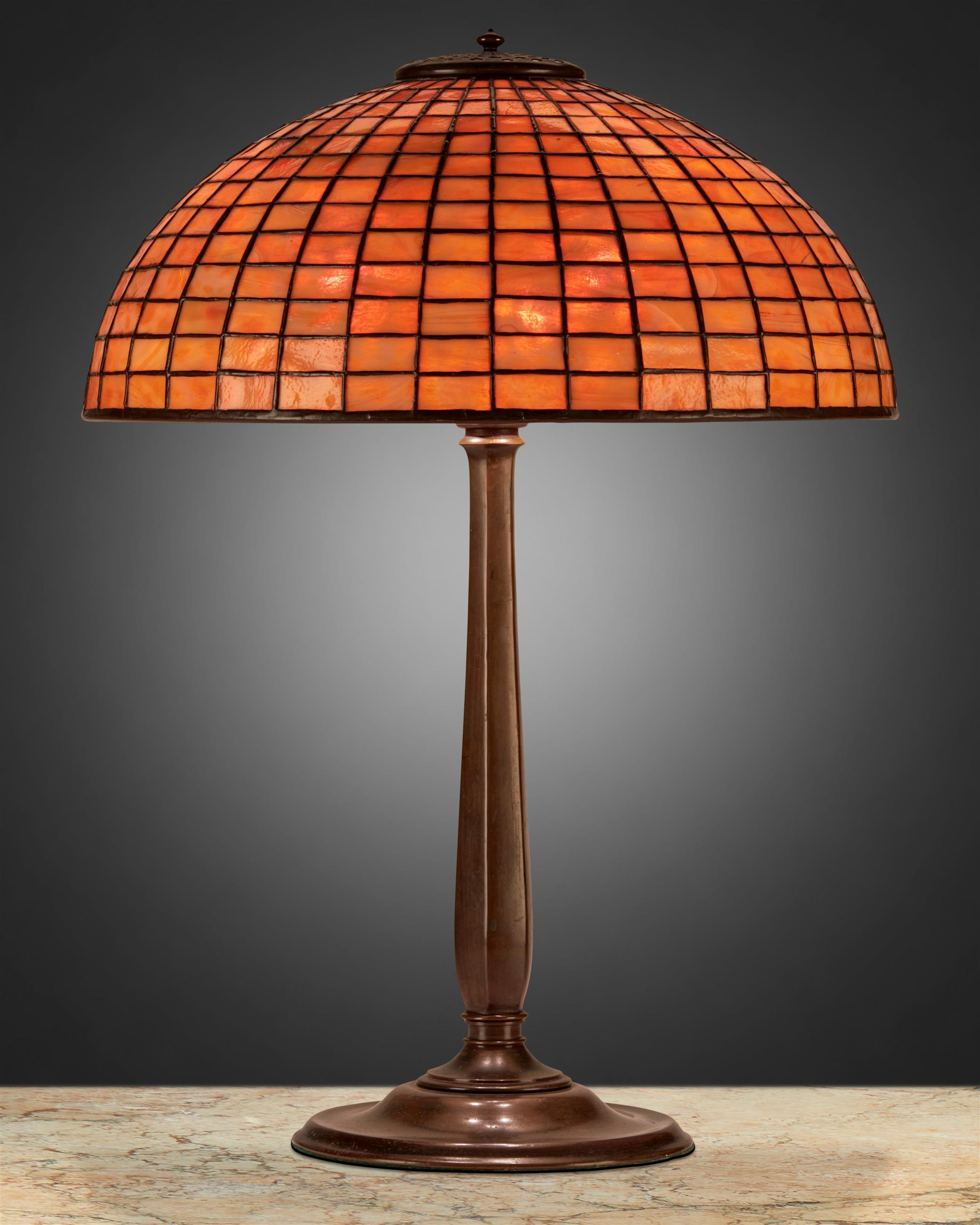 A Tiffany Studios geometric table lamp