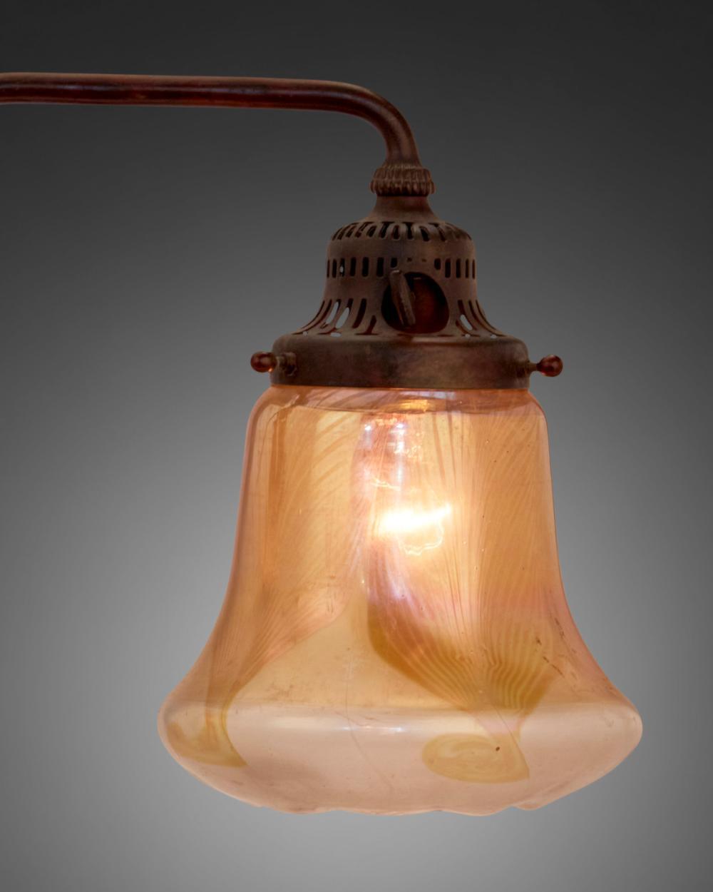 A Tiffany Studios double-arm table lamp