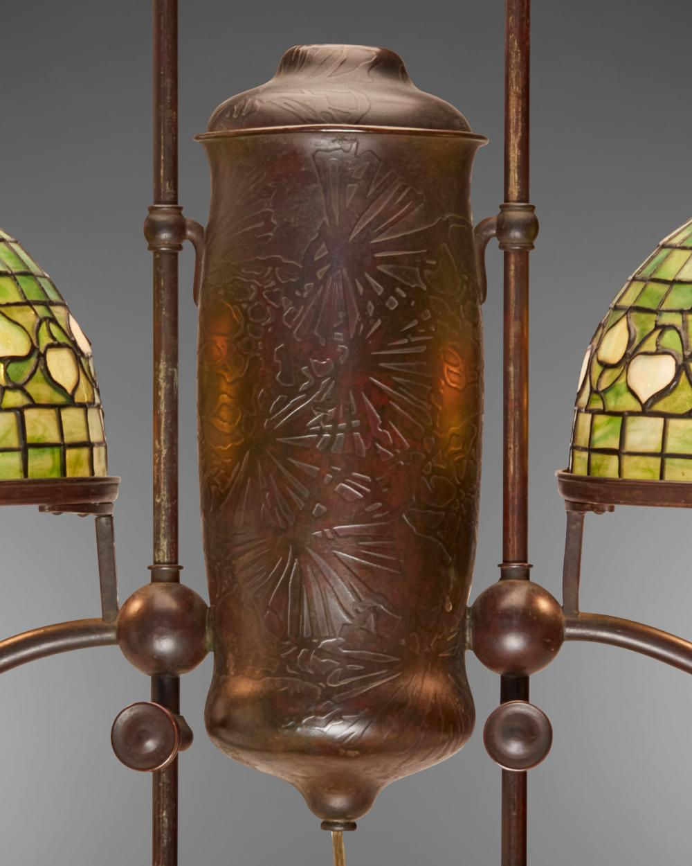 A Tiffany Studios double-arm student lamp