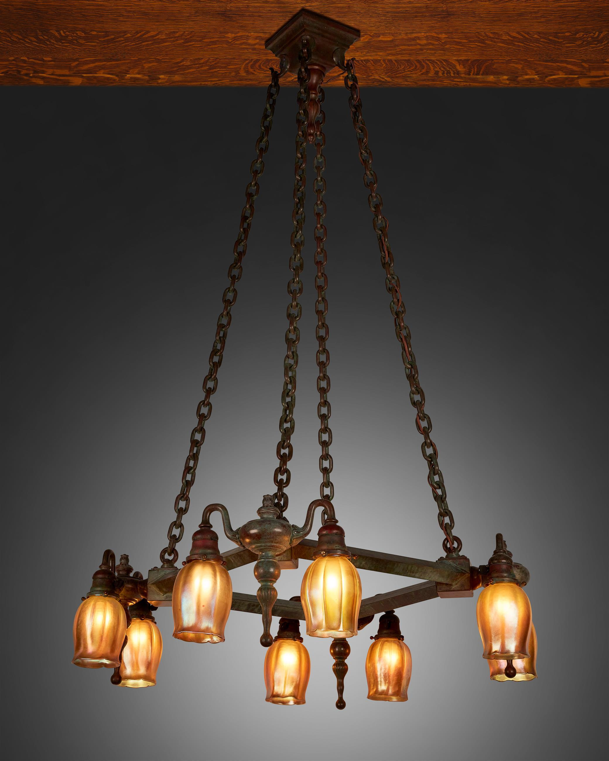 A Tiffany Studios Favrile glass and bronze chandelier