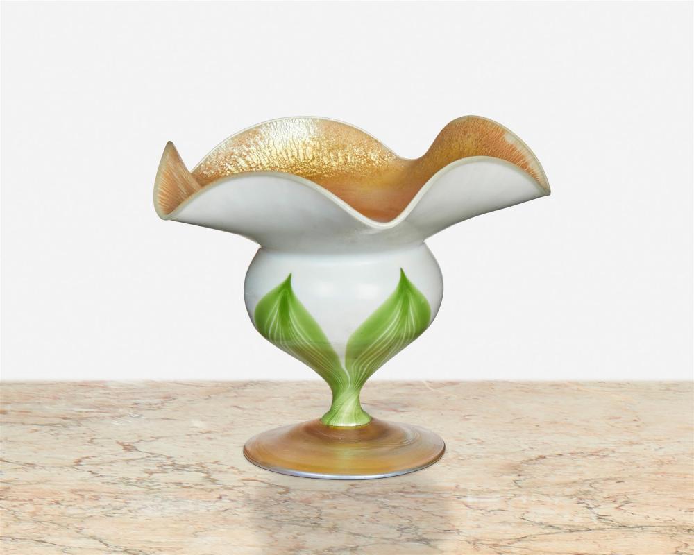 Two L.C. Tiffany Favrile glass floriform cabinet vases