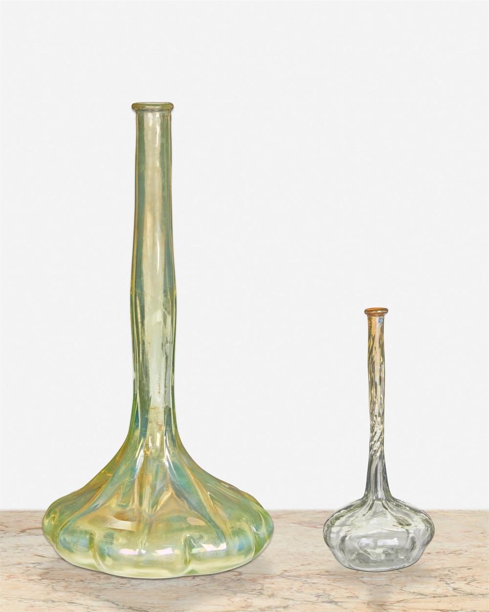 Two L.C. Tiffany Favrile glass bud vases
