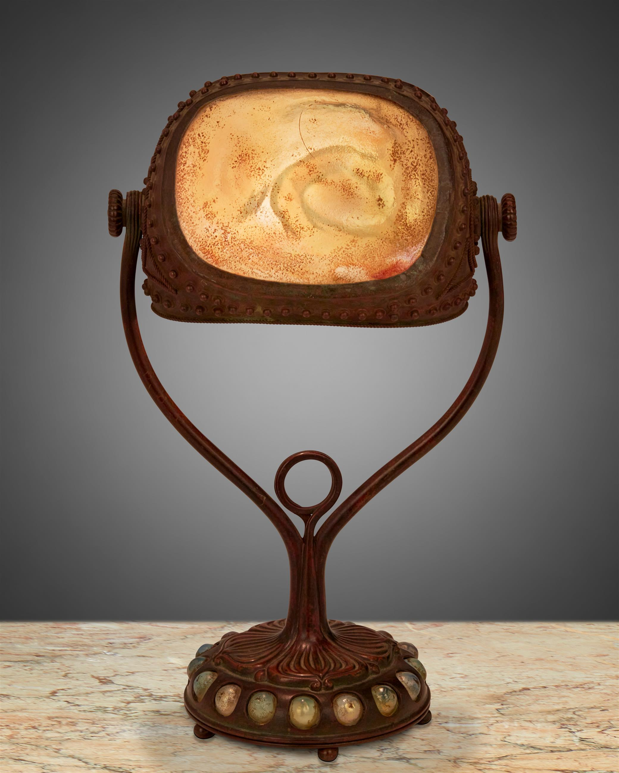 "A Tiffany Studios ""Turtle-Back"" seal lamp"
