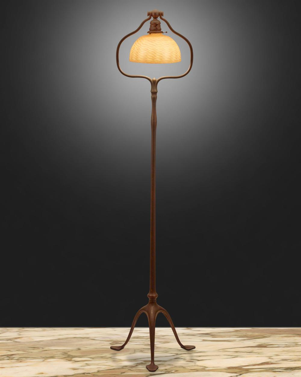 A Tiffany Studios harp floor lamp