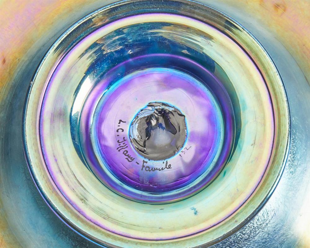 A blue L.C. Tiffany Favrile glass intaglio compote