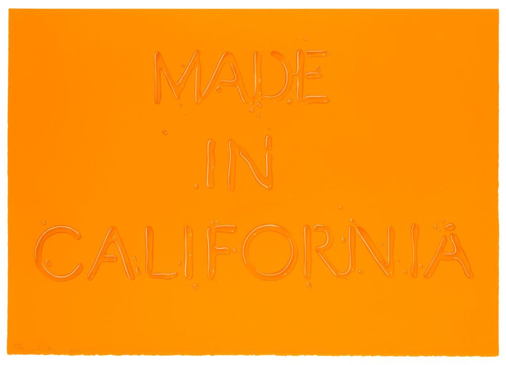"Edward Ruscha, (b. 1937, American), ""Made in California,"" 1971, Color screenprint on Arches paper under Plexiglas, Grunewald Graphic Ar"