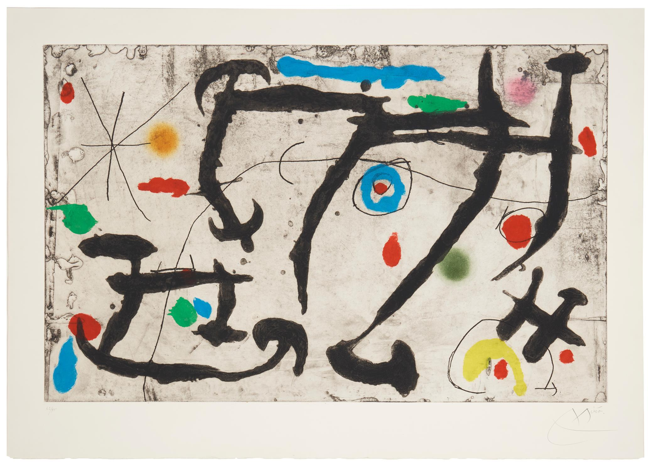 "Joan Miro, (1893-1983, Spanish), ""Trace Sur La Paroi III"", Color etching and aquatint with carborundum on paper under Plexiglas, Plate:"