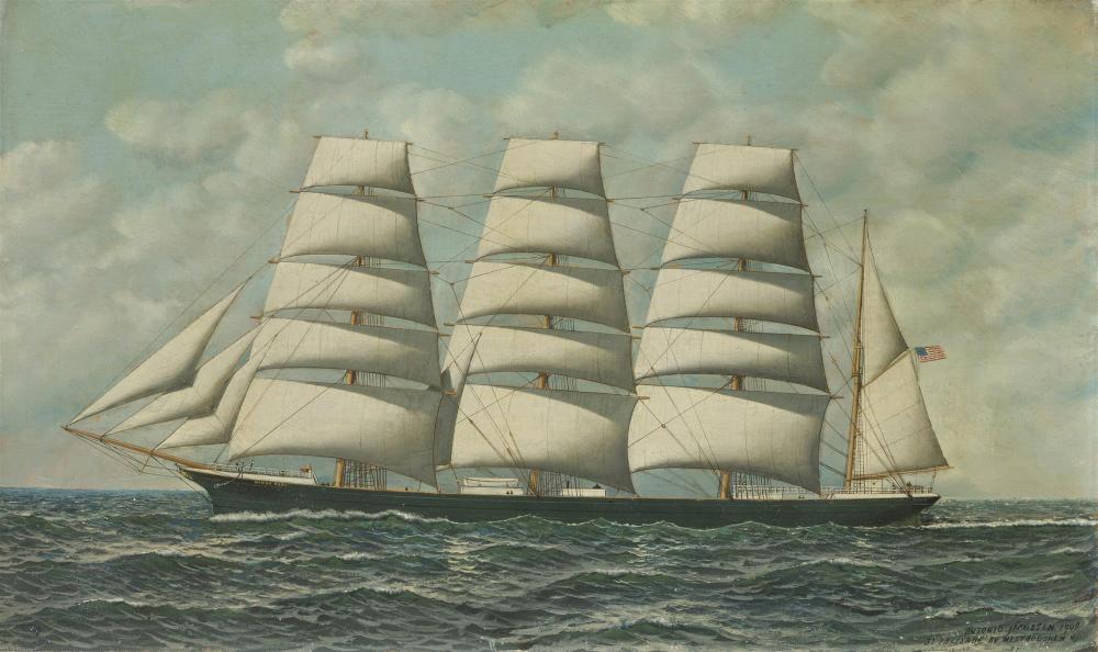"Antonio Nicolo Gasparo Jacobsen, (1850-1921 Hoboken, NJ), The American Bark, ""Manga Reva"" (formerly ""Pyrenees""), 1909, Oil on board und"