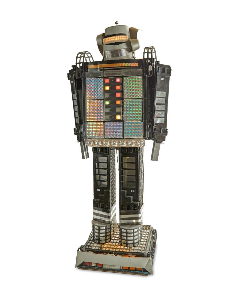An electrified robot sculpture