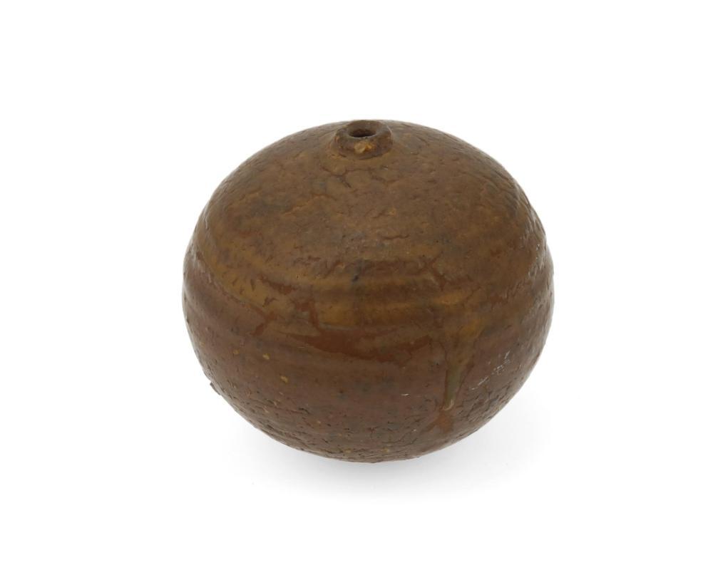 "Doyle Lane, (1925-2002, American), Brown weed pot, Glazed ceramic, 2.25"" H x 2.375"" Dia."