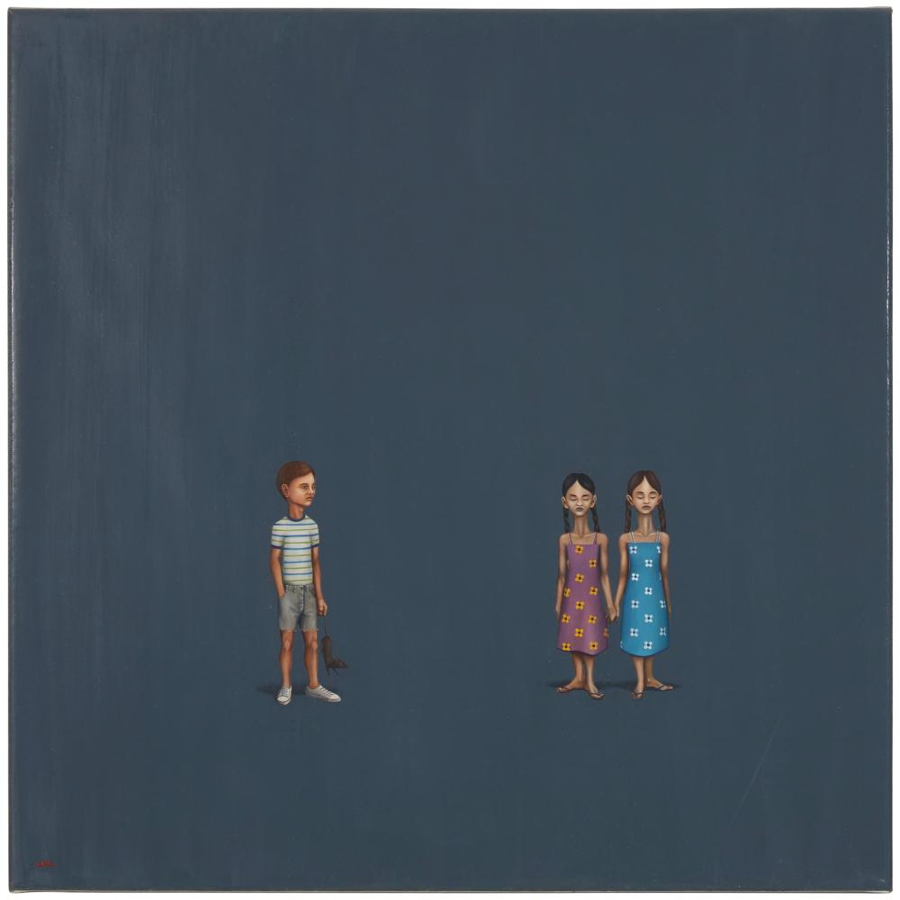 "Edward del Rosario, (b.1970, American), ""The Gift,"" 2004, Oil on linen, 18"" H x 18"" W"