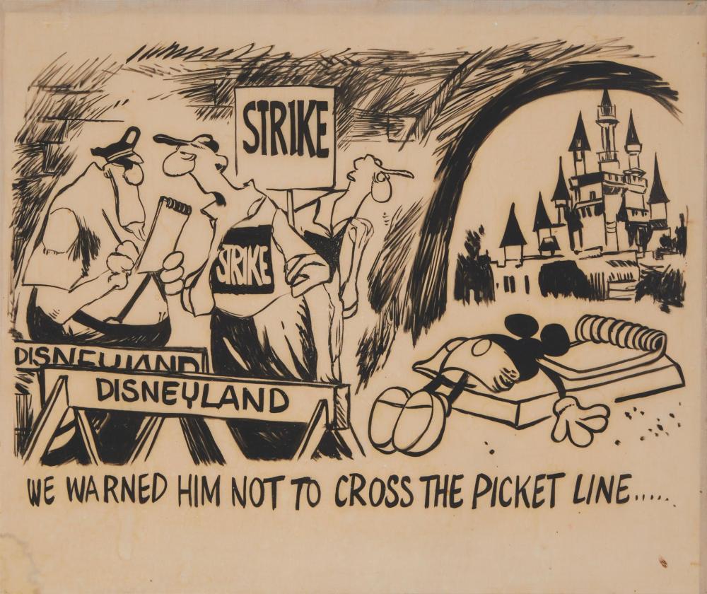 "Walt Disney Studios - Striker Art , (20th Century, American), ""We warned him not to cross the picket line...,"" circa 1941, Ink on nylon"