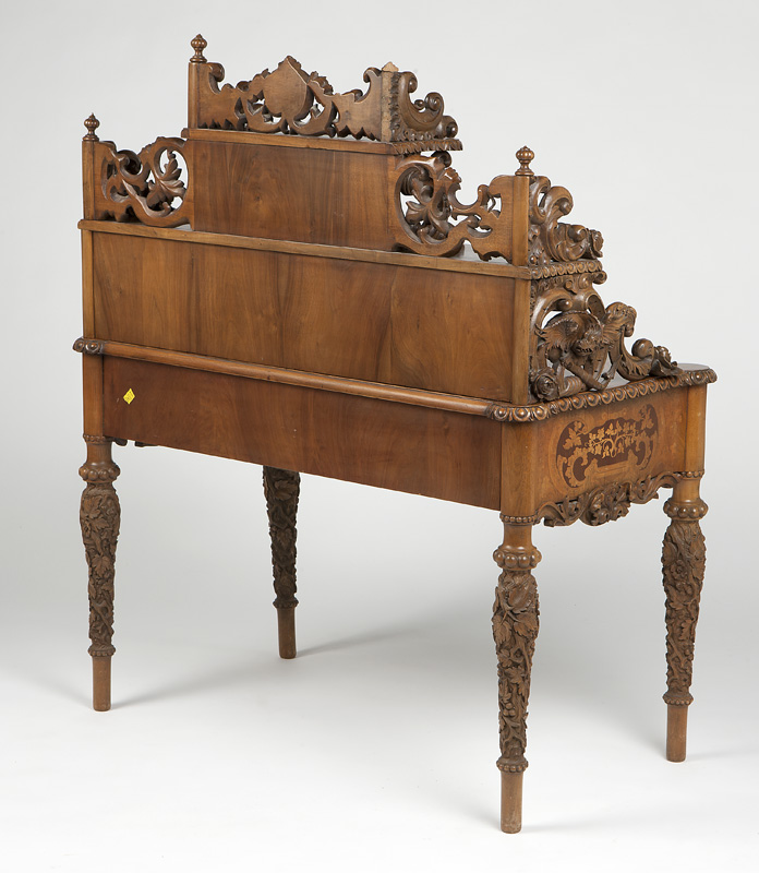 German ornately carved and marquetry inlaid desk