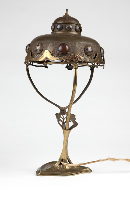 A Hermann Eichberg table lamp & jeweled shade