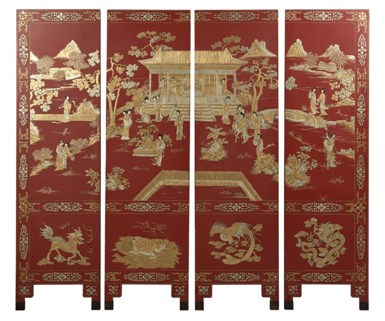A Chinese four-panel relief-carved screen