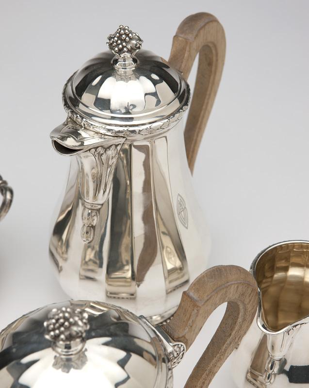 Five-piece .950 silver Cartier coffee/tea service