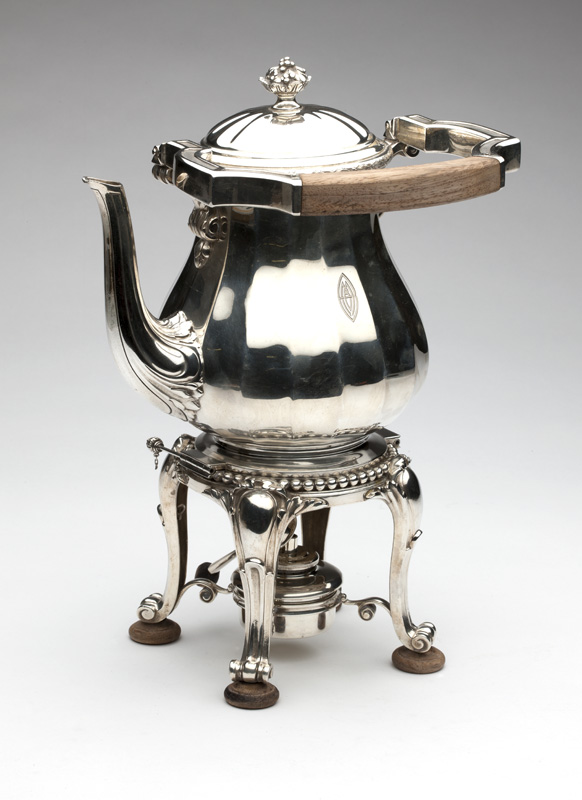 Sterling silver hot water tipping kettle, Cartier