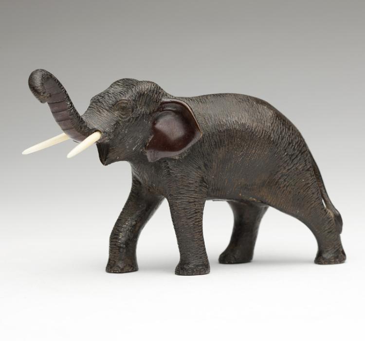 A Japanese patinated bronze elephant, Meiji period (1868-1912)