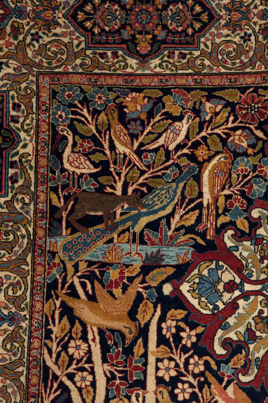 A Persian Kashan tree of life area rug