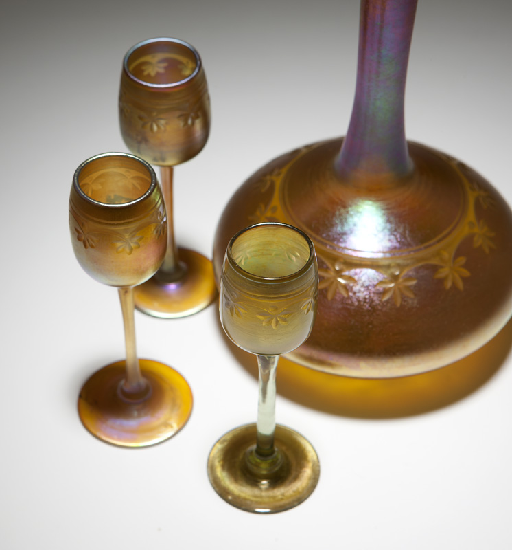 L.C. Tiffany Favrile decanter and 3 cordial stems