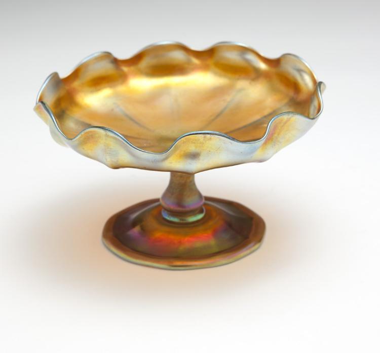 An L.C. Tiffany gold Favrile candy dish