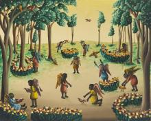 "Bourmond Byron, (1923-2004 Haitian), Angelic figures in a landscape, Oil on masonite, 16"" H x 20"" W"