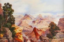 """Andy Dagosta, (1923 - 2009 Glendale, CA), Grand Canyon, 1991, Oil on canvas, 16"""" H x 24"""" W"""
