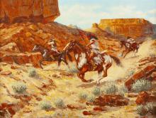 """Andy Dagosta, (1923 - 2009 Glendale, CA), """"Trouble in the Canyon"""", Native Americans on horseback, Oil on canvas, 18"""" H x 24"""" W"""