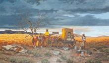 """Andy Dagosta, (1923 - 2009 Glendale, CA), """"Gonna Rain Like Hell"""", 1989, Oil on masonite, 36"""" H x 60"""" W"""
