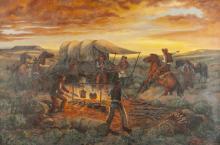 "Andy Dagosta, (1923 - 2009 Glendale, CA), ""Stampede!"", Oil on canvas, 24"" H x 36"" W"